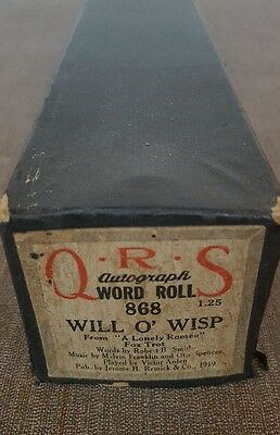 """QRS Player Piano Word Roll #868 """"Will O Wisp"""" Original Box MSRP $1.25"""