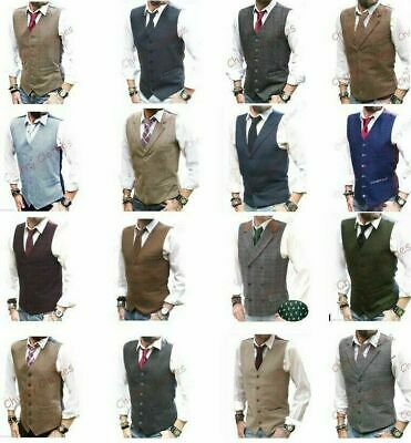 Mens Waistcoat Wool Blend Tweed Waistcoats Vest Gilet - All Sizes