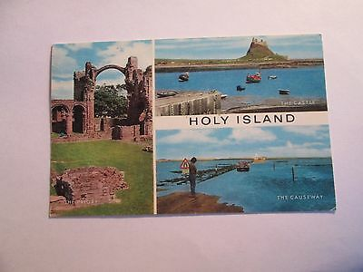 Postcard of Holy Island (multiview) posted 1977 Salmon Cameracolour