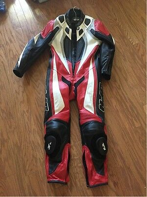 Red HJC 1-piece Motorcycle Riding Suit