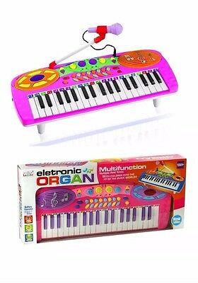 Pink Kids Electronic Toy Rockstar Keyboard Piano Tune Set With Microphone Boxed
