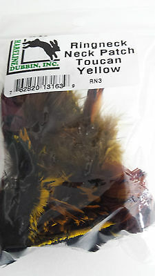 """HARELINE   RINGNECK NECK PATCH  """"Toucan Yellow """" FLY TYING  streamer,wet,salmon"""