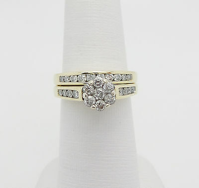 Zales 1CT Diamond Engagement Wedding Ring Set 14K Yellow Gold