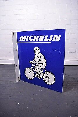 Original Double Sided Michelin Bicycle Tyres Flange Advertising Sign Not Enamel