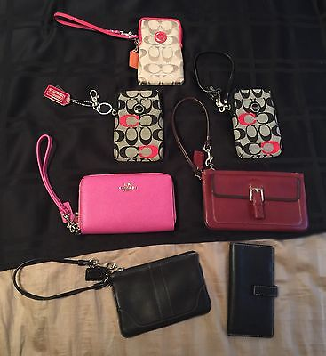 Lot of 7 pre-owned Coach wristlets