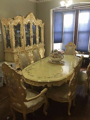 Vintage Grand carved wood ornate dining room set table 8 chairs china cabinet