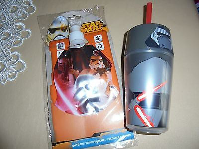 Star Wars Foldable Drinks Bottle And   Tumbler With Lid And Straw