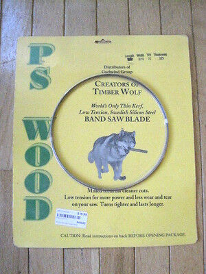 "PS Wood Timber Wolf Band Saw Blade 70.5"" x 3/16"" x 10 TPI x .025""  New"