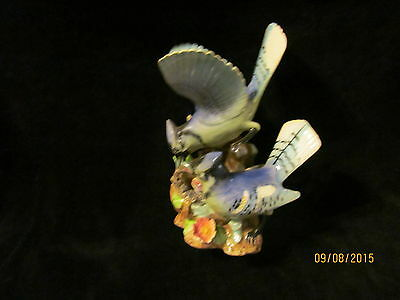 Vintage Blue Jays and Baby in Nest Figurine