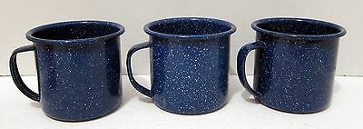 3 Graniteware Tin Cups - Blue And White Speckled