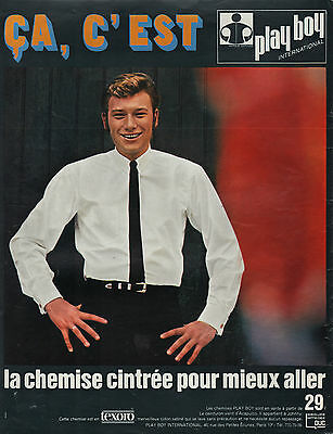Publicite  Johnny Hallyday Chemise  Homme Mode Fashion  Men Ad  1966  Rare
