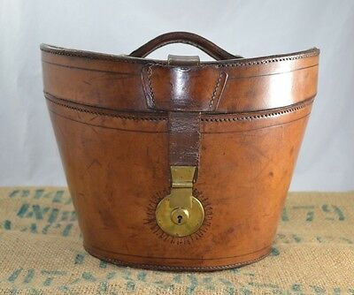 Antique Late Victorian Stitched Tan Leather Bucket Hat Box