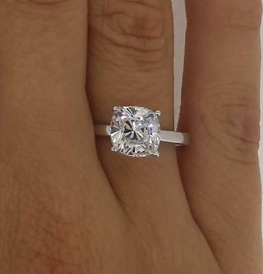 2 Cushion Cut Diamond Engagement Ring  VS2/F 14K White Gold Enhanced