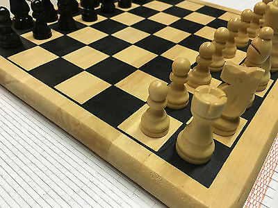 Vintage Solid Wood Chess Set with Hand Carved Chess Pieces