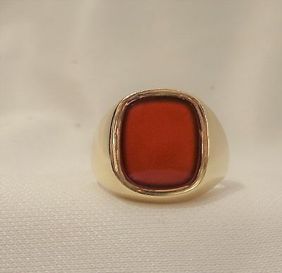 Gents Vintage Carnelian Signet Ring in 9ct Yellow Gold - Large Size U 1/2 -10.2g