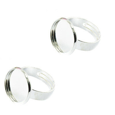 2pcs Adjustable Flat Silver Plated Ring Blanks Findings Pad Bases 18mm DIY