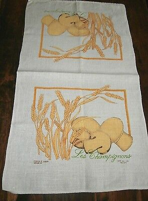 Vintage linen tea towel Les Champignons Mushrooms printed in Canada