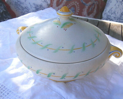 Crown Ducal Snow Glaze Nome covered vegetable dish Charlotte Rhead 11 inch