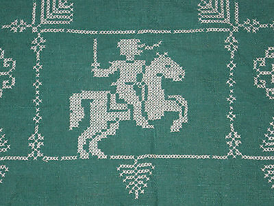 CROSS STITCH TABLECLOTH KNIGHT HORSE JOUSTING Soldier Trees Green Antique 29 in
