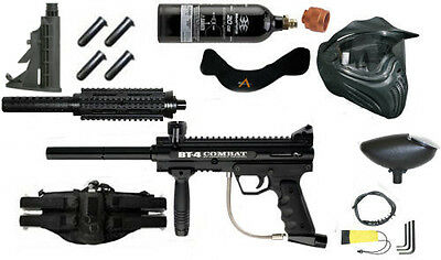 BT-4 Combat Paintball Kit with mods Hand Guard+Stock+Belt+pods FREE CO2 Tank