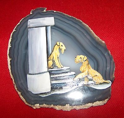 Irish Terrier Painting On Blue Agate Geode Slice - Tricia Smith 2005