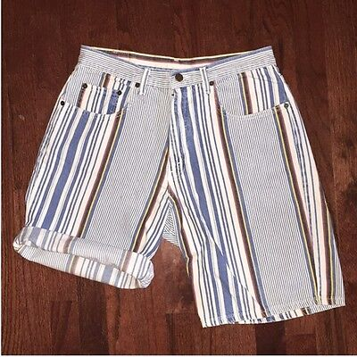 90s Vintage Striped Denim Bermuda Shorts - Sz 32