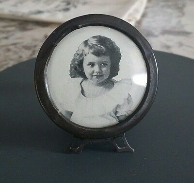 Antique Sterling Silver Victorian Round Miniature Frame Original Glass Photo