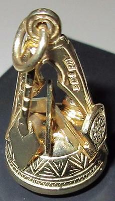 18ct on Sterling Silver (925) Large Masonic hand assembled Blue Agate Fob seal