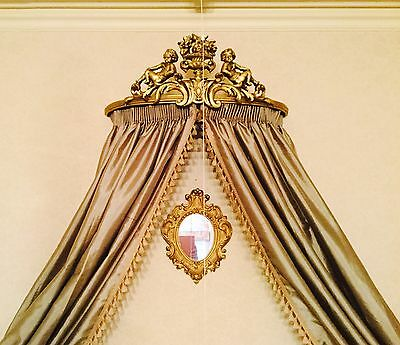 Antique Ornate French Sofa Chair Gilt Gold Italian Crown Rococo Day Bed Canopy