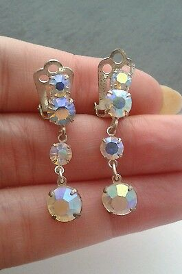 Vintage Jewellery- Pair Of 1950's Crystal Glass Dropper Clip On Earrings.