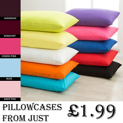 New Luxury Plain Dyed PolyCotton Housewife Pillow Case Cases Pair Pack all color