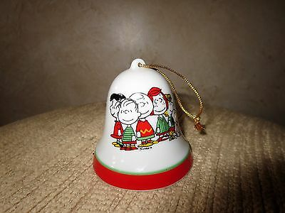 Vintage Peanuts Snoopy Ceramic Christmas Ornament Bell ~ Christmas is Together