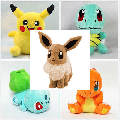 5PCS Pokemon Plush Toys Pikachu Bulbasaur Squirtle Charmander Eevee Action Set