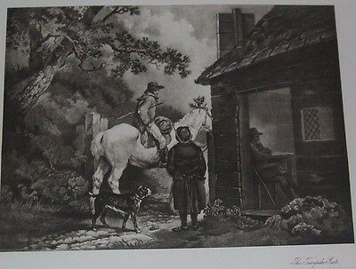 1800's  Art Engraving THE TURNPIKE GATE  Antique Print 20% off