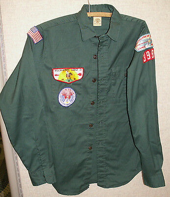 Official Boy Scouts of America Long Sleeve Shirt Patches Green Vintage INDIANA