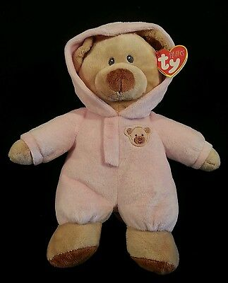 """TY Pluffies Baby Bear Pink Stuffed Plush Beanie 11"""" Non Removeable PJ'S New"""