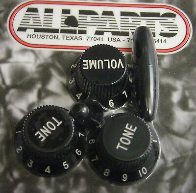 Fender Strat Replacement Knob Set 1 Vol 2 Tone Trem & Switch Tips Black