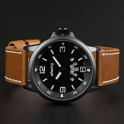 Infantry Mens Quartz Wrist Watch Russian Style Fashion Army Sports Brown Leather