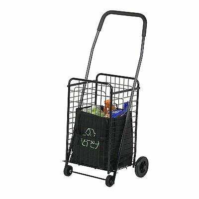 Cart For Groceries Foldable Collapsible Shopping Rolling 4 Wheeled Utility Wagon