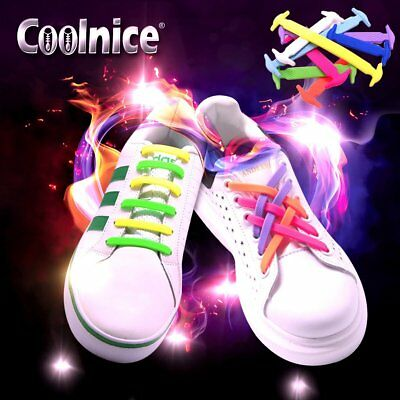 [x2] Lazy No-Tie Elastic Silicone Anchor Shoe Laces by COOLNICE: Trainers Shoes