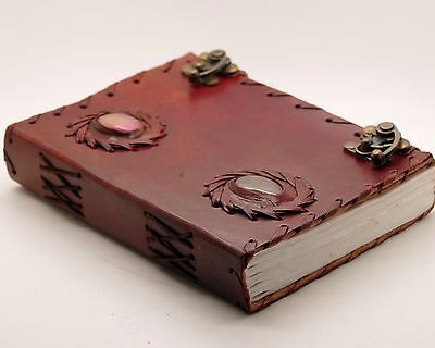 Unique Stone Leather Journal Handmade Blank Book Of Shadows Antique WICCA DIARY