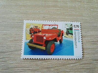 Timbre Luxembourg Tintin Kuifje Pays de l'or Noir - Jeep rouge
