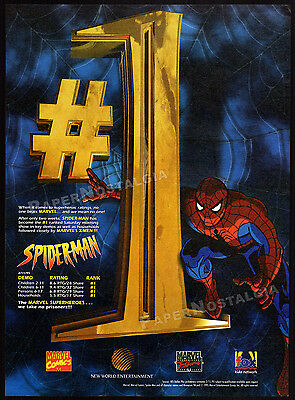 SPIDER-MAN ranks #1__Original 1995 Trade AD promo / poster__animated TV series