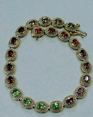 "14K Solid Yellow Gold Amethyst, Garnet & Diamonds Tennis Bracelet 7"" Long"