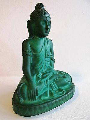 ORIGINAL Czech Bohemian GREEN OPAQUE GLASS BUDDHA FIGURINE ART DECO 1930's
