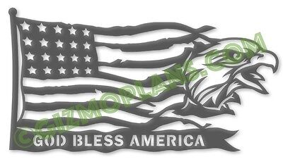 DXF Files God Bless America Eagle CNC Plasma Laser Router dxf images cnc art