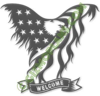 DXF Files WELCOME Eagle Flag CNC Plasma Laser Router dxf images cnc art