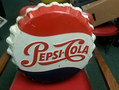 Vintage Pepsi-Cola Button  19 Inches Very Nice (This Sign Will Not Be Relisted)