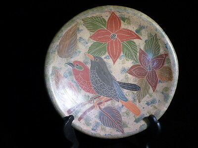Costa Rican Decorative Ceramic Plate 2 Birds & Flowers Handmade Hand Painted 10""