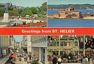 Postcard  Channel Islands  Greetings from St Helier   posted  Dennis